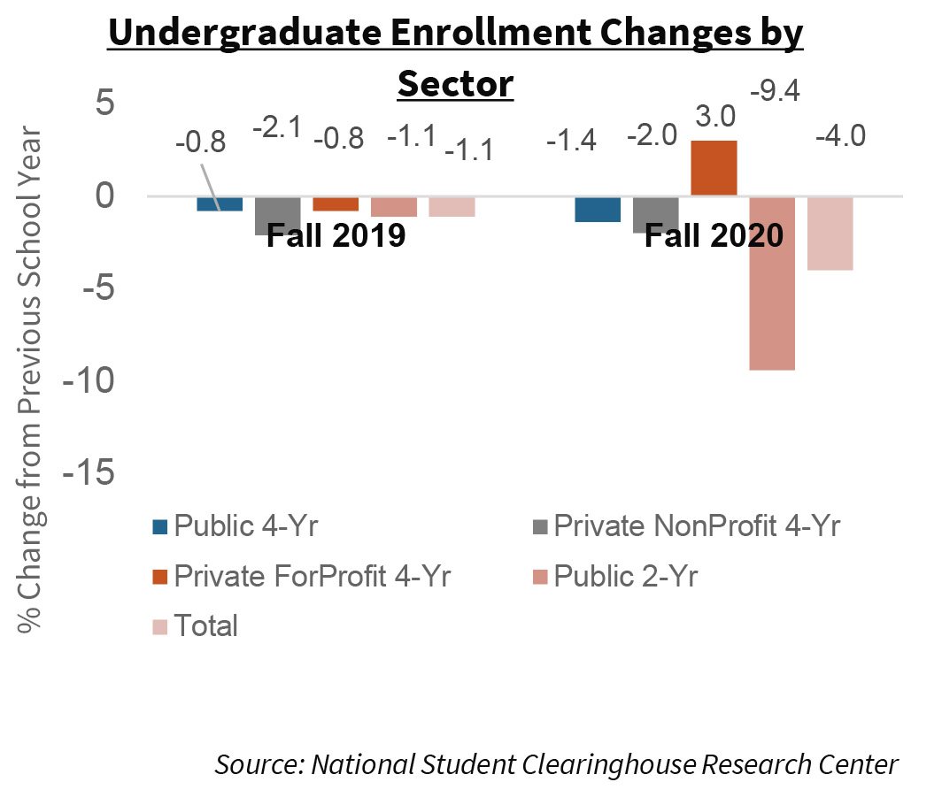 Undergraduate Enrollment Changes by Sector
